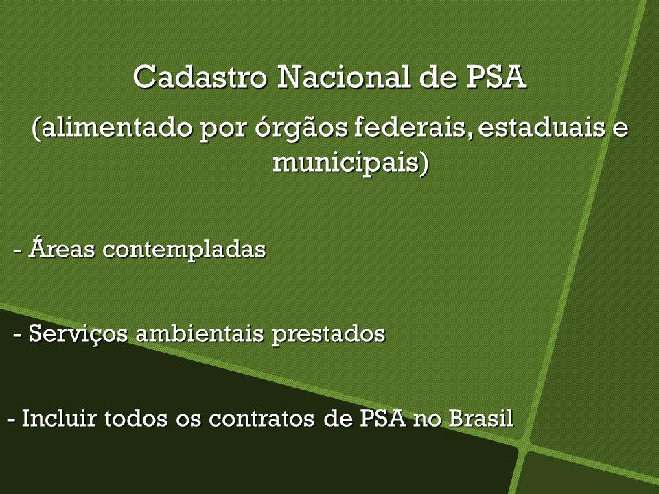 Cadastro Nacional de PSA (alimentado por órgãos federais, estaduais e municipais) - Áreas contempladas - Áreas contempladas - Serviços ambientais prestados - Serviços ambientais prestados - Incluir todos os contratos de PSA no Brasil