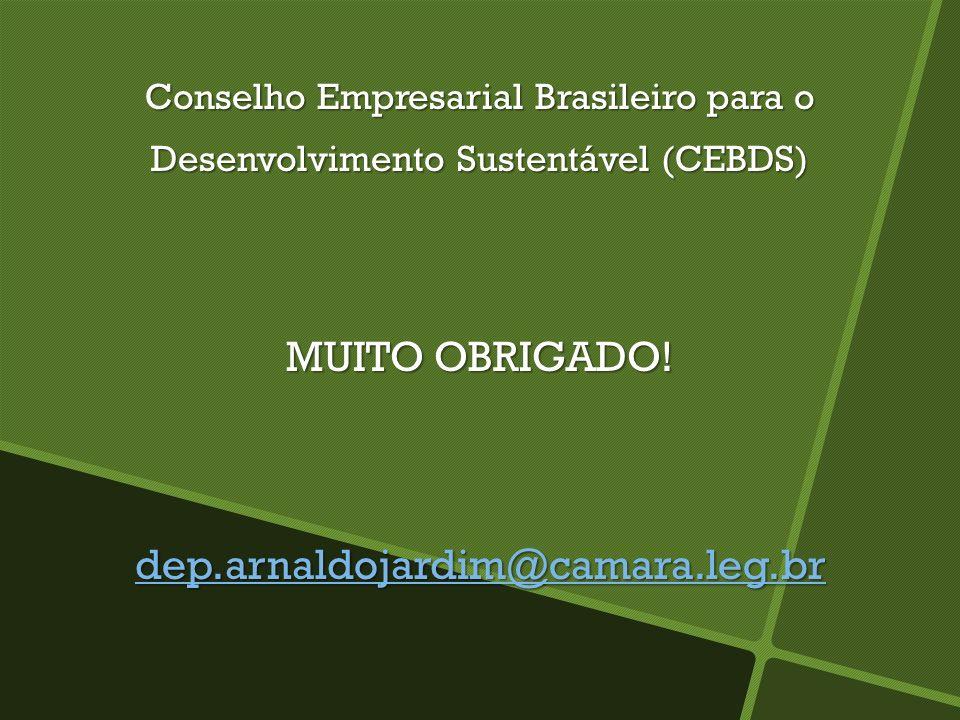 Conselho Empresarial Brasileiro para o Desenvolvimento Sustentável (CEBDS) MUITO OBRIGADO! dep.arnaldojardim@camara.leg.br