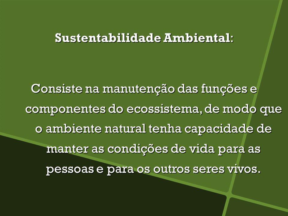 Sustentabilidade Ambiental: Consiste na manutenção das funções e componentes do ecossistema, de modo que o ambiente natural tenha capacidade de manter as condições de vida para as pessoas e para os outros seres vivos.