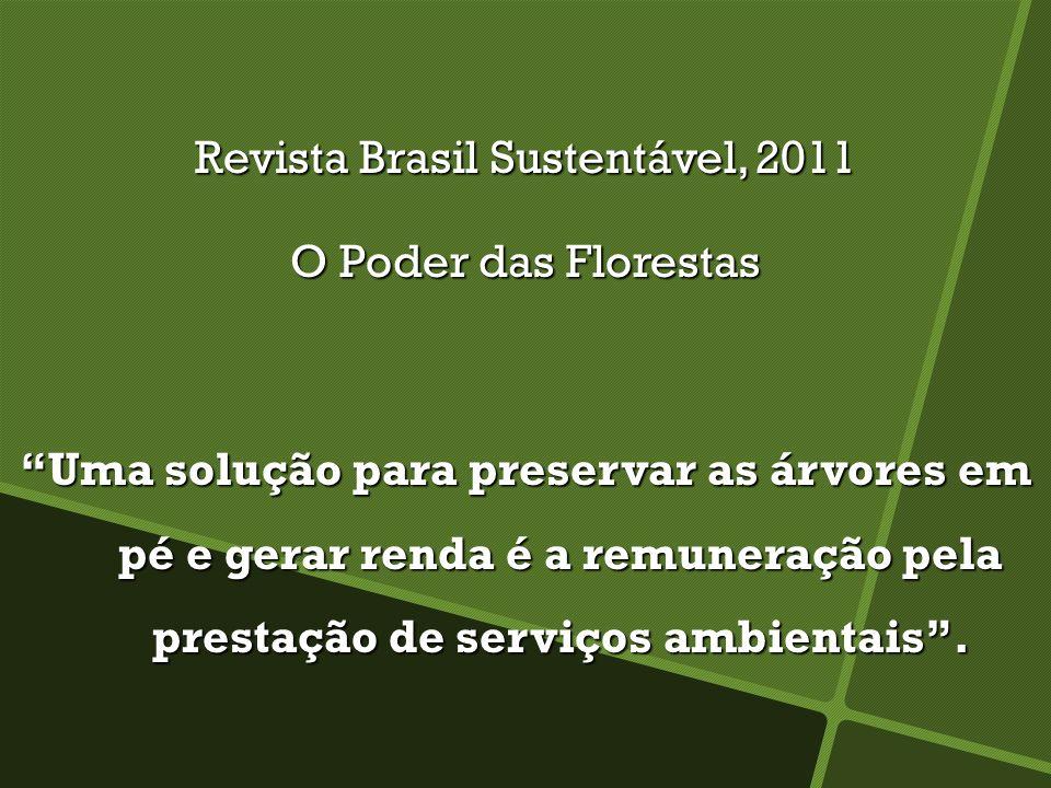 Revista Brasil Sustentável, 2011 O Poder das Florestas Uma solução para preservar as árvores em pé e gerar renda é a remuneração pela prestação de serviços ambientais.