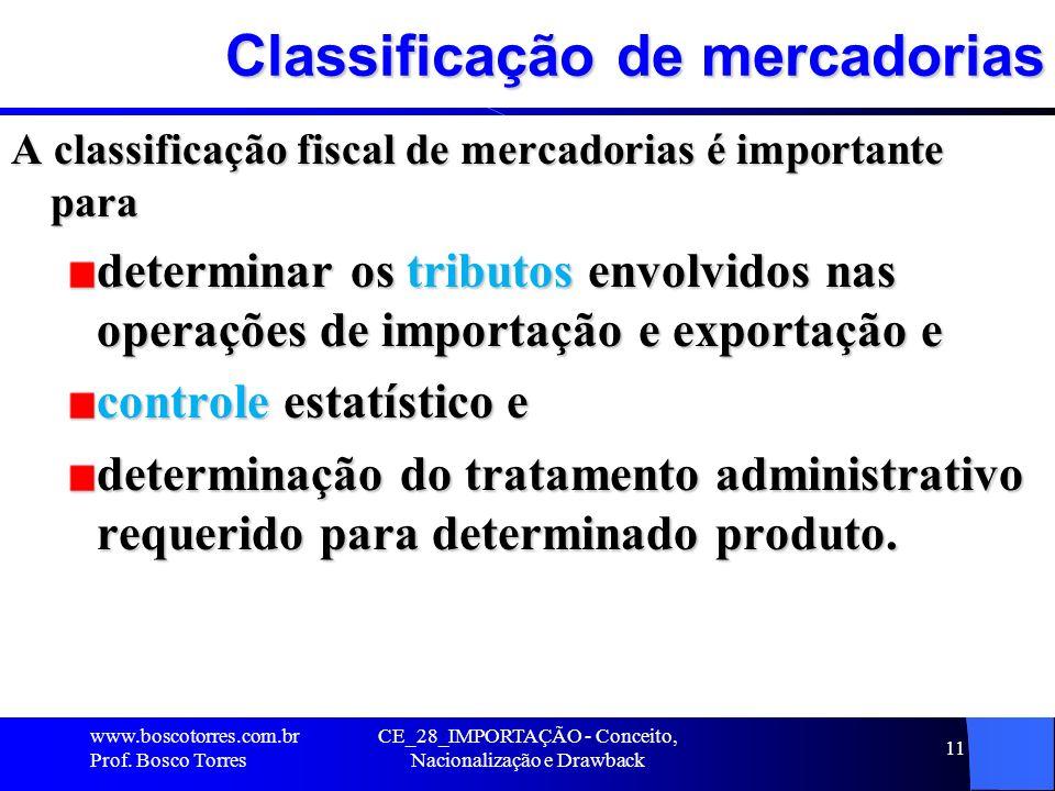 CE_28_IMPORTAÇÃO - Conceito, Nacionalização e Drawback 11 Classificação de mercadorias A classificação fiscal de mercadorias é importante para determi