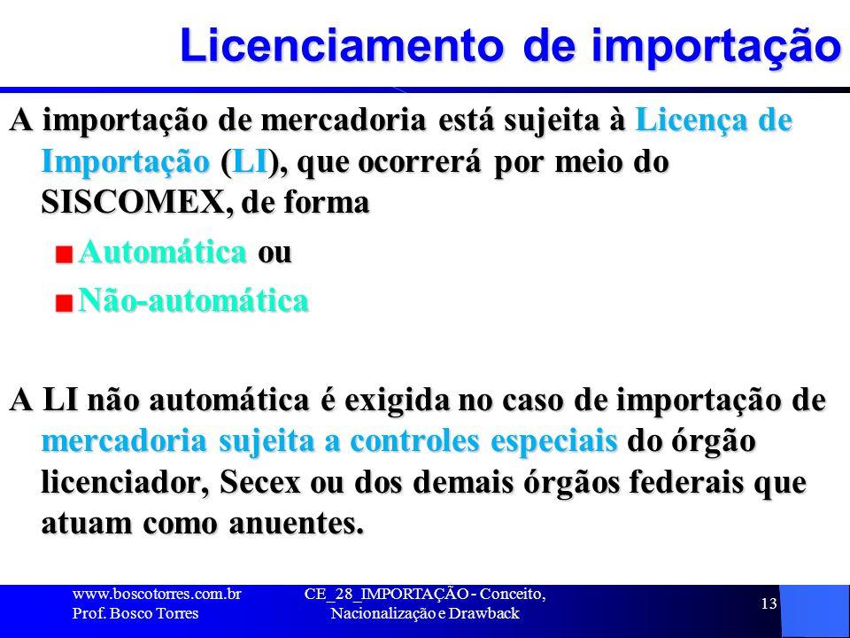 CE_28_IMPORTAÇÃO - Conceito, Nacionalização e Drawback 13 Licenciamento de importação A importação de mercadoria está sujeita à Licença de Importação
