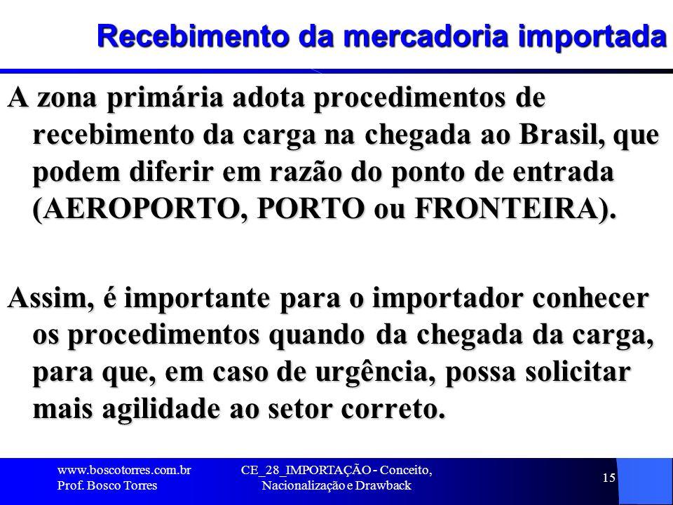 CE_28_IMPORTAÇÃO - Conceito, Nacionalização e Drawback 15 Recebimento da mercadoria importada A zona primária adota procedimentos de recebimento da ca