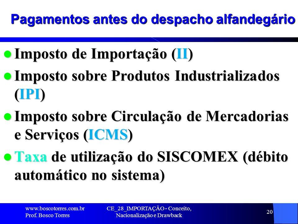 CE_28_IMPORTAÇÃO - Conceito, Nacionalização e Drawback 20 Pagamentos antes do despacho alfandegário Imposto de Importação (II) Imposto de Importação (