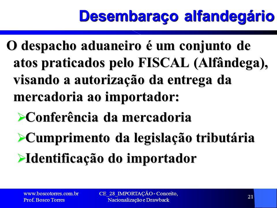 CE_28_IMPORTAÇÃO - Conceito, Nacionalização e Drawback 21 Desembaraço alfandegário O despacho aduaneiro é um conjunto de atos praticados pelo FISCAL (