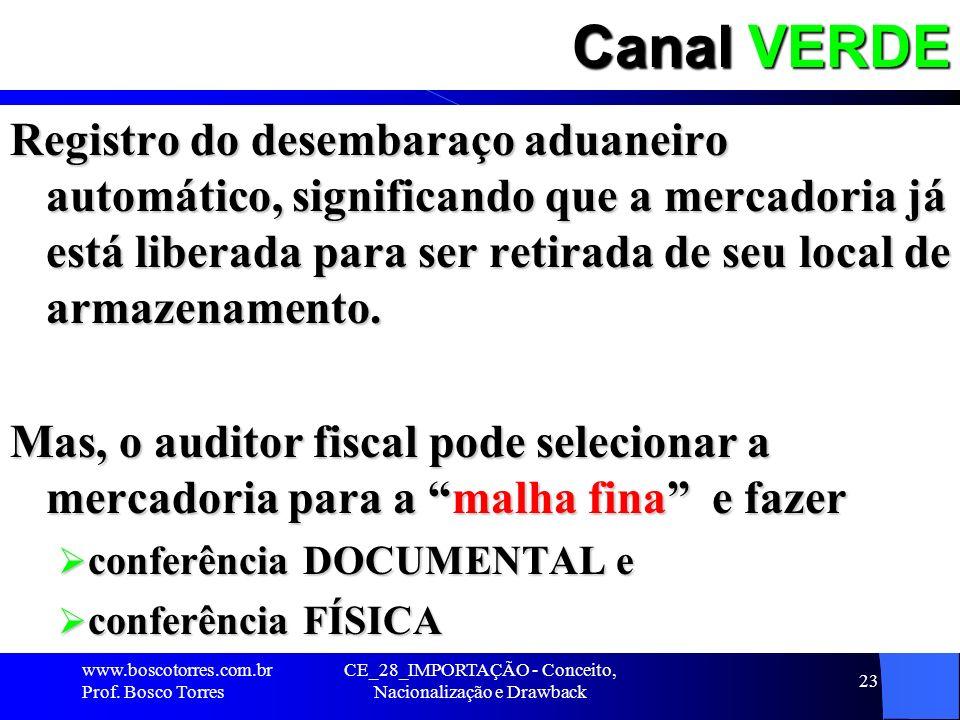 CE_28_IMPORTAÇÃO - Conceito, Nacionalização e Drawback 23 Canal VERDE Registro do desembaraço aduaneiro automático, significando que a mercadoria já e
