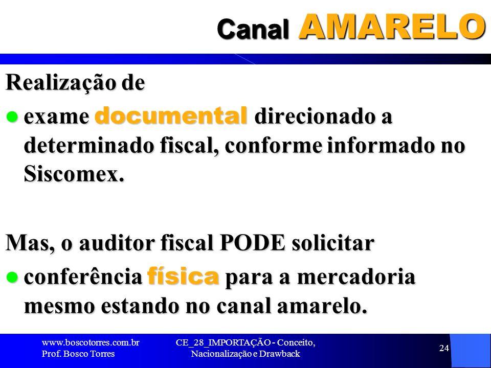 CE_28_IMPORTAÇÃO - Conceito, Nacionalização e Drawback 24 Canal AMARELO Realização de exame documental direcionado a determinado fiscal, conforme info