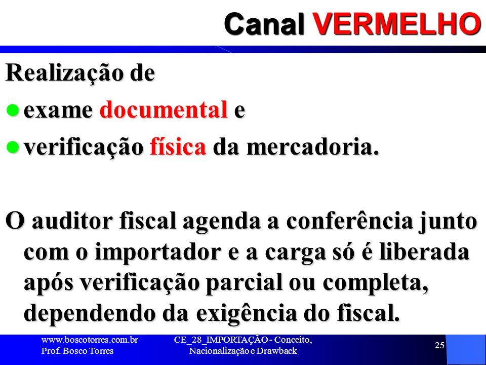 CE_28_IMPORTAÇÃO - Conceito, Nacionalização e Drawback 25 Canal VERMELHO Realização de exame documental e exame documental e verificação física da mer