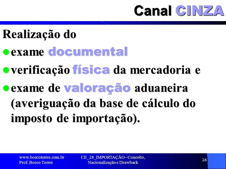 CE_28_IMPORTAÇÃO - Conceito, Nacionalização e Drawback 26 Canal CINZA Realização do exame documental exame documental verificação física da mercadoria