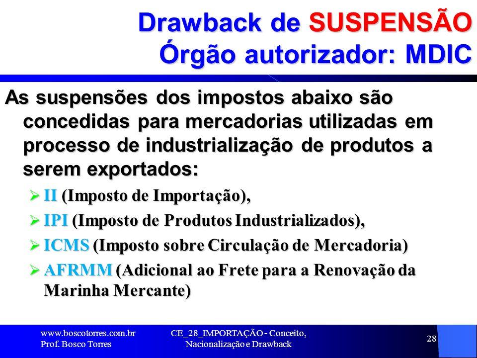 CE_28_IMPORTAÇÃO - Conceito, Nacionalização e Drawback 28 Drawback de SUSPENSÃO Órgão autorizador: MDIC As suspensões dos impostos abaixo são concedid