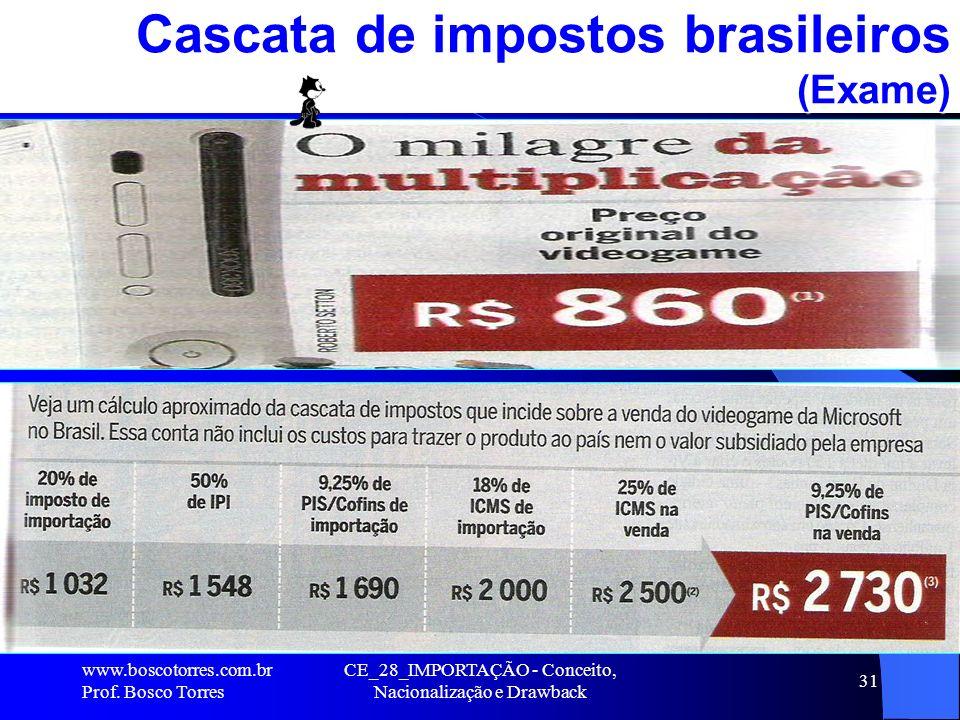 CE_28_IMPORTAÇÃO - Conceito, Nacionalização e Drawback 31 Cascata de impostos brasileiros (Exame). www.boscotorres.com.br Prof. Bosco Torres