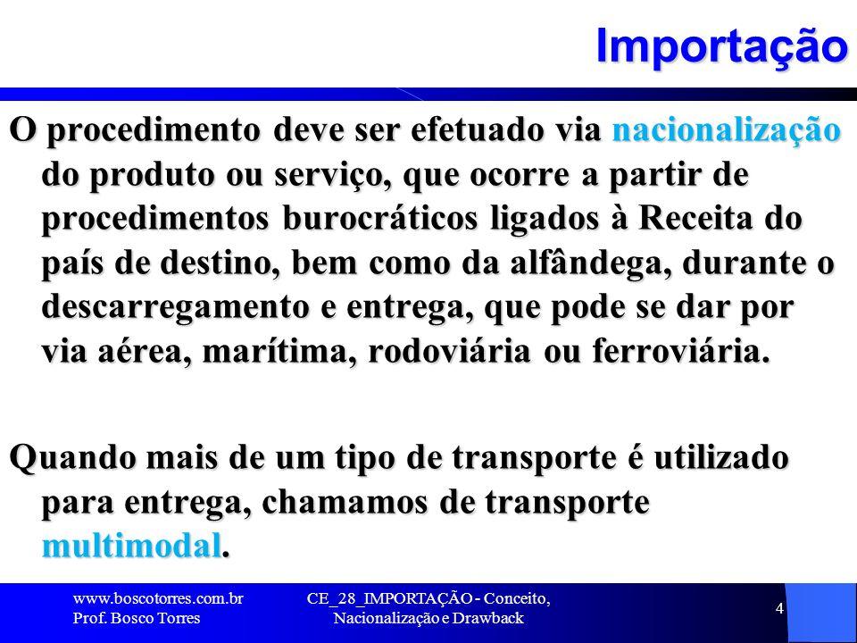 Importação O procedimento deve ser efetuado via nacionalização do produto ou serviço, que ocorre a partir de procedimentos burocráticos ligados à Rece