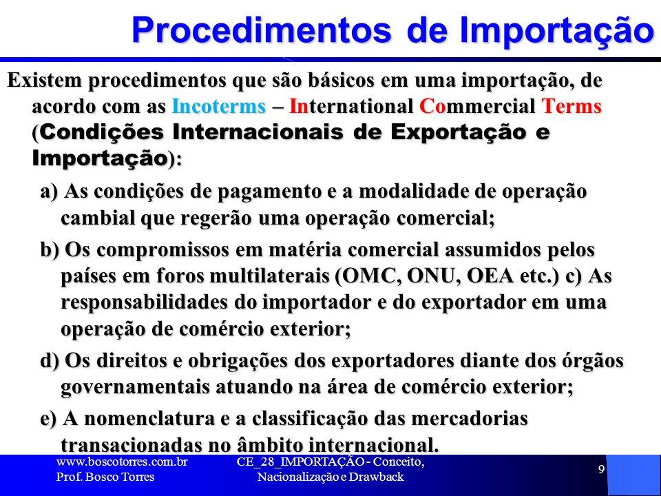 CE_28_IMPORTAÇÃO - Conceito, Nacionalização e Drawback 9 Procedimentos de Importação Existem procedimentos que são básicos em uma importação, de acord