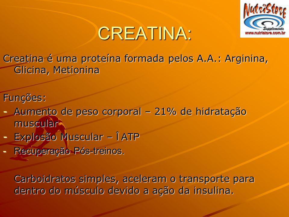 CREATINA: Creatina é uma proteína formada pelos A.A.: Arginina, Glicina, Metionina Funções: -Aumento de peso corporal – 21% de hidratação muscular -Ex