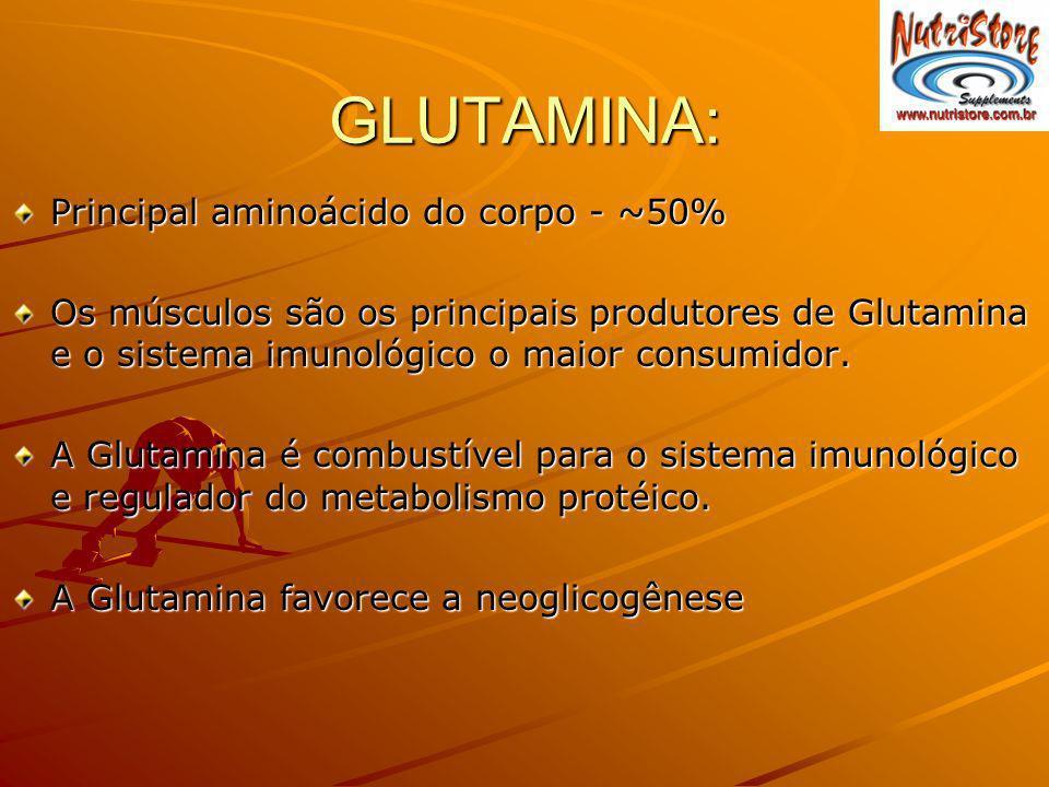 GLUTAMINA: Principal aminoácido do corpo - ~50% Os músculos são os principais produtores de Glutamina e o sistema imunológico o maior consumidor. A Gl