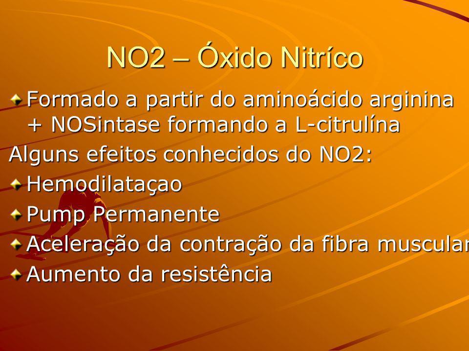 NO2 – Óxido Nitríco Formado a partir do aminoácido arginina + NOSintase formando a L-citrulína Alguns efeitos conhecidos do NO2: Hemodilataçao Pump Pe