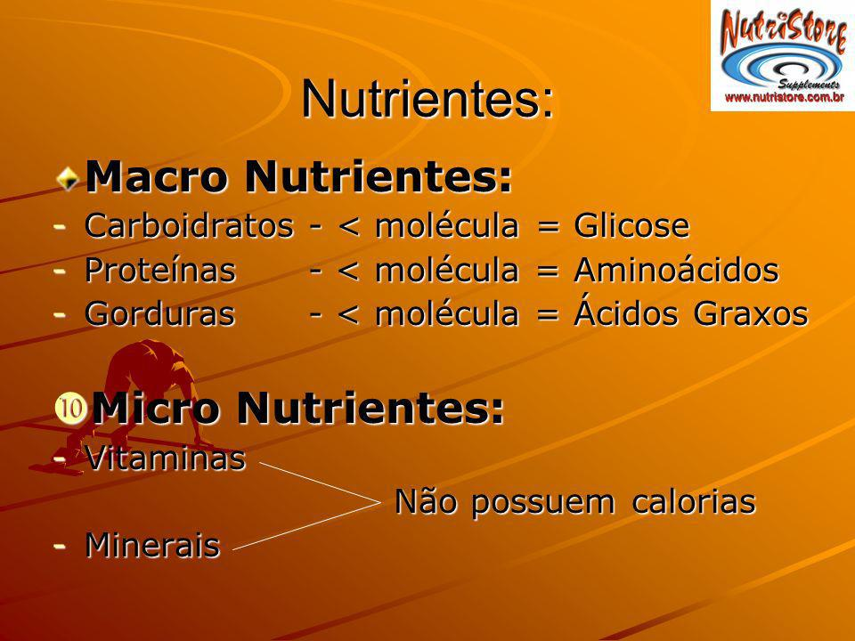 Nutrientes: Macro Nutrientes: -Carboidratos - < molécula = Glicose -Proteínas - < molécula = Aminoácidos -Gorduras - < molécula = Ácidos Graxos Micro