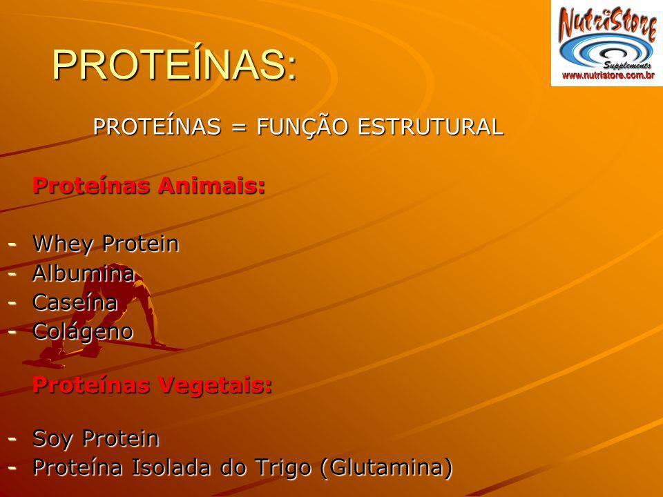 PROTEÍNAS: PROTEÍNAS = FUNÇÃO ESTRUTURAL PROTEÍNAS = FUNÇÃO ESTRUTURAL Proteínas Animais: -Whey Protein -Albumina -Caseína -Colágeno Proteínas Vegetai