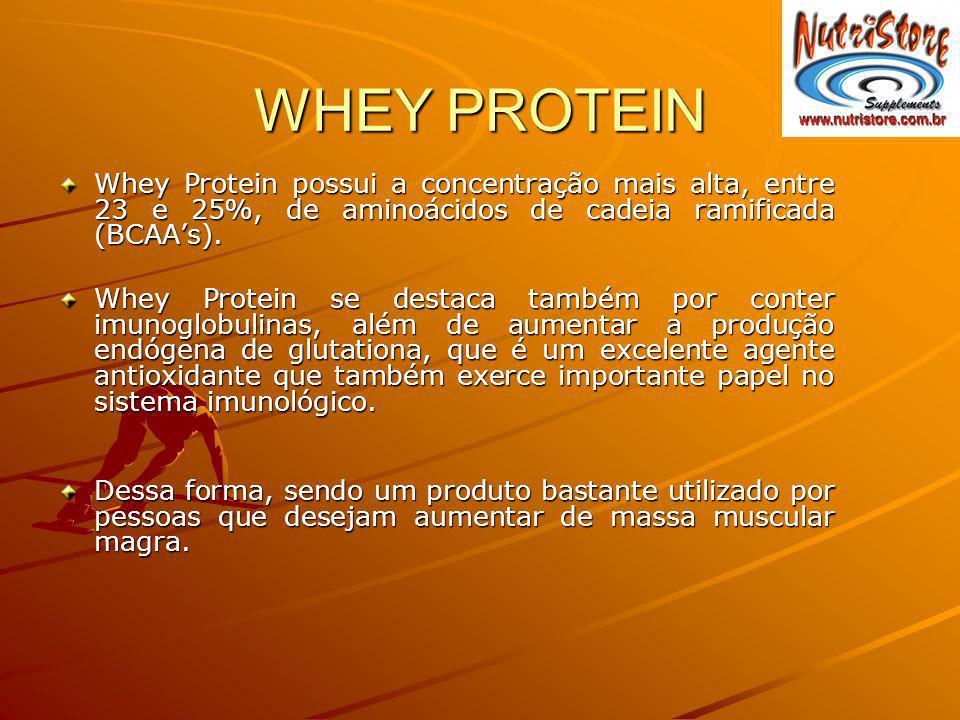 WHEY PROTEIN Whey Protein possui a concentração mais alta, entre 23 e 25%, de aminoácidos de cadeia ramificada (BCAAs). Whey Protein se destaca também