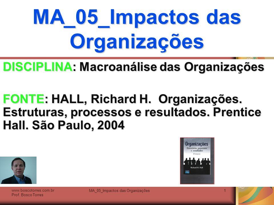 MA_05_Impactos das Organizações1 DISCIPLINA: Macroanálise das Organizações FONTE: HALL, Richard H. Organizações. Estruturas, processos e resultados. P
