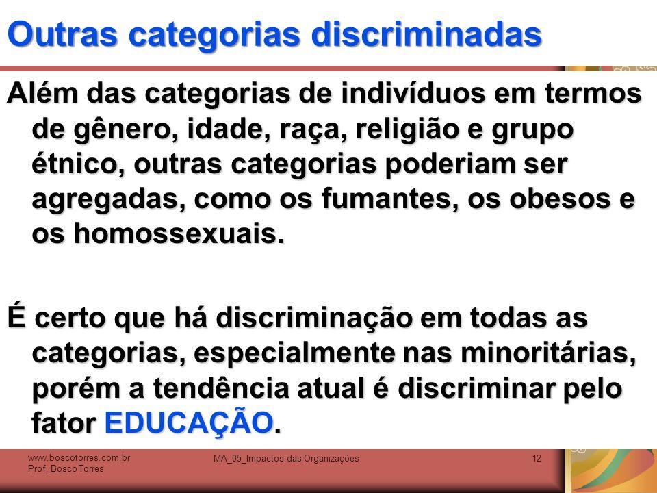 Outras categorias discriminadas Além das categorias de indivíduos em termos de gênero, idade, raça, religião e grupo étnico, outras categorias poderia