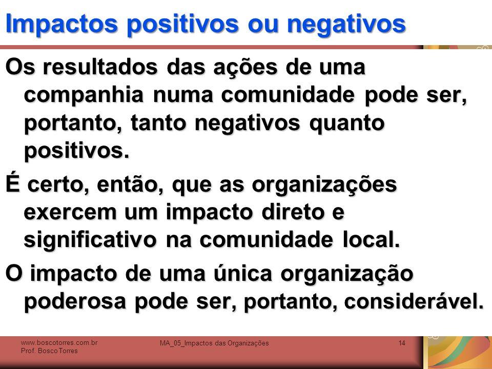 Impactos positivos ou negativos Os resultados das ações de uma companhia numa comunidade pode ser, portanto, tanto negativos quanto positivos. É certo