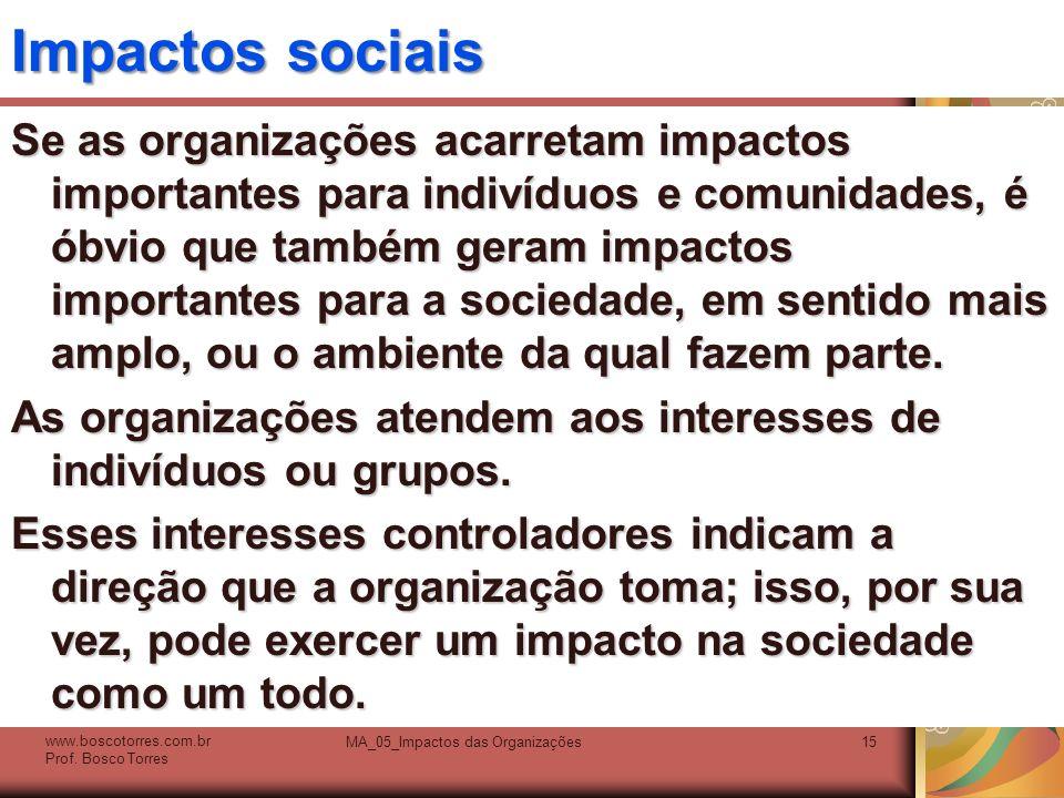 Impactos sociais Se as organizações acarretam impactos importantes para indivíduos e comunidades, é óbvio que também geram impactos importantes para a