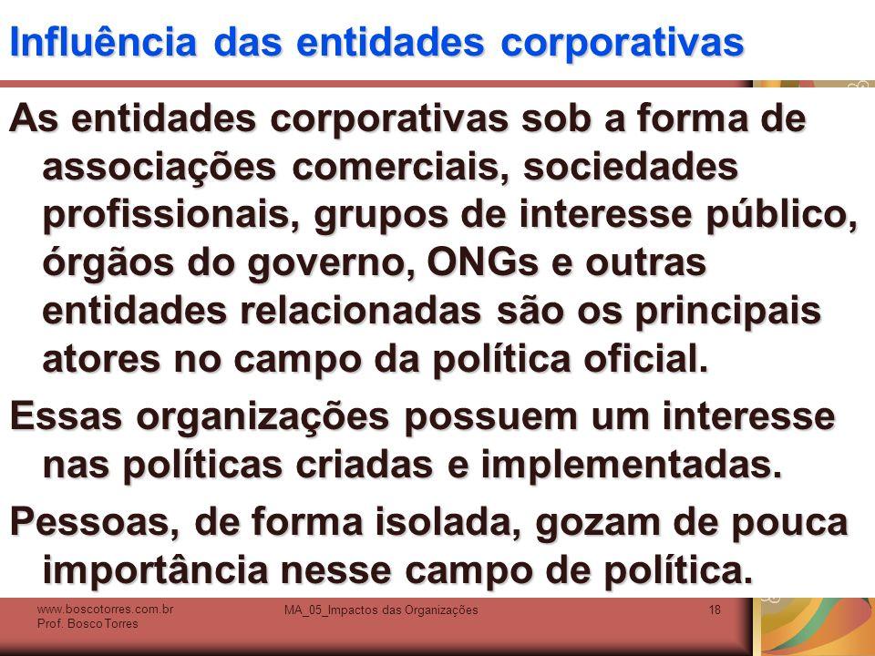 Influência das entidades corporativas As entidades corporativas sob a forma de associações comerciais, sociedades profissionais, grupos de interesse p