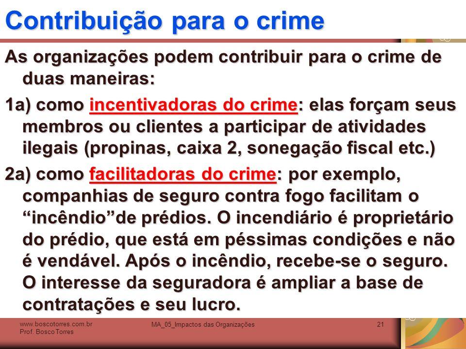 Contribuição para o crime As organizações podem contribuir para o crime de duas maneiras: 1a) como incentivadoras do crime: elas forçam seus membros o