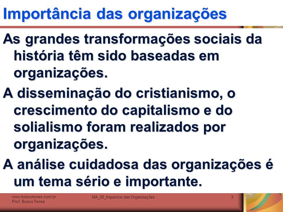 Importância das organizações As grandes transformações sociais da história têm sido baseadas em organizações. A disseminação do cristianismo, o cresci