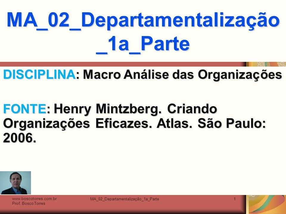 MA_02_Departamentalização_1a_Parte2 Agrupamento de Unidades É mediante o processo de agrupamento em unidades que o sistema de autoridade formal é estabelecido e a hierarquia da organização construída.