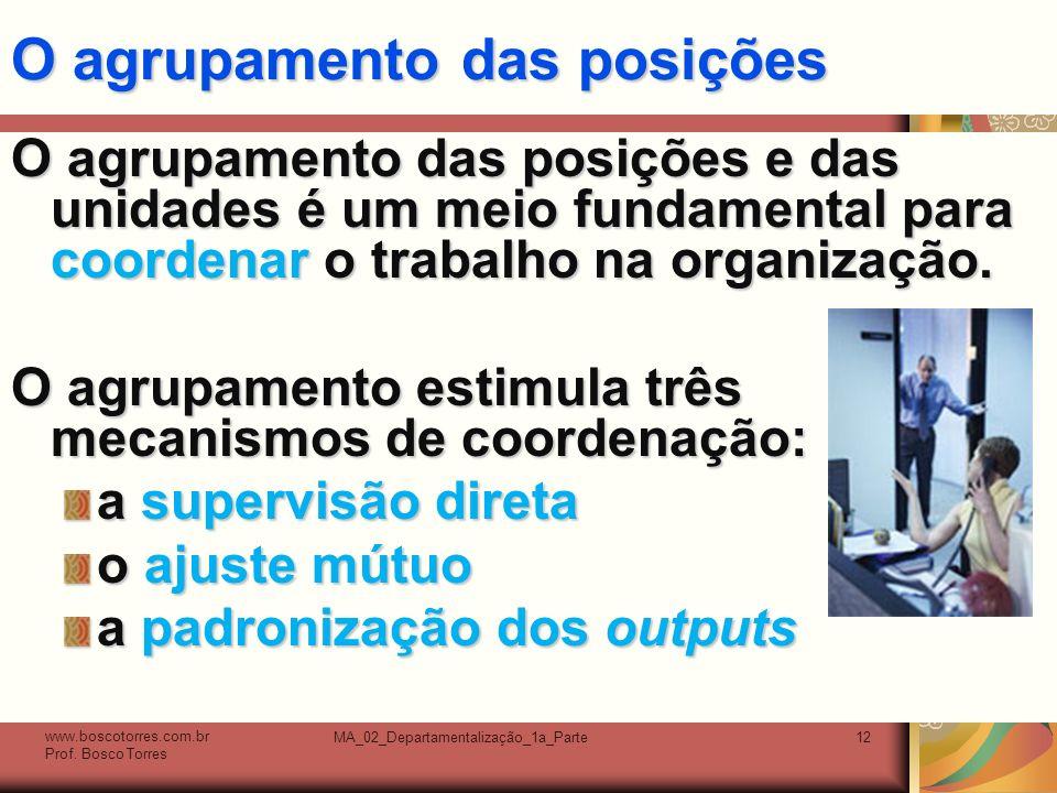 MA_02_Departamentalização_1a_Parte12 O agrupamento das posições O agrupamento das posições e das unidades é um meio fundamental para coordenar o trabalho na organização.