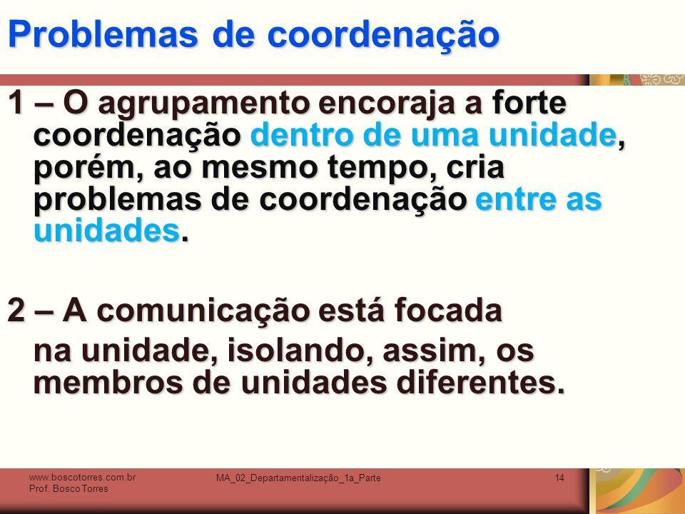 MA_02_Departamentalização_1a_Parte14 Problemas de coordenação 1 – O agrupamento encoraja a forte coordenação dentro de uma unidade, porém, ao mesmo tempo, cria problemas de coordenação entre as unidades.