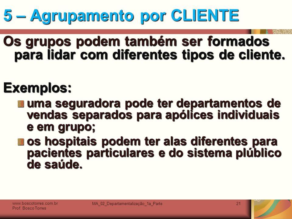 MA_02_Departamentalização_1a_Parte21 5 – Agrupamento por CLIENTE Os grupos podem também ser formados para lidar com diferentes tipos de cliente.