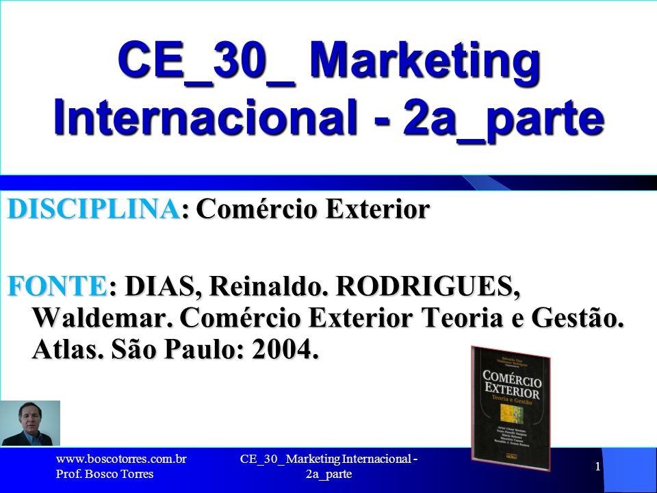 CE_30_ Marketing Internacional - 2a_parte 1 DISCIPLINA: Comércio Exterior FONTE: DIAS, Reinaldo. RODRIGUES, Waldemar. Comércio Exterior Teoria e Gestã
