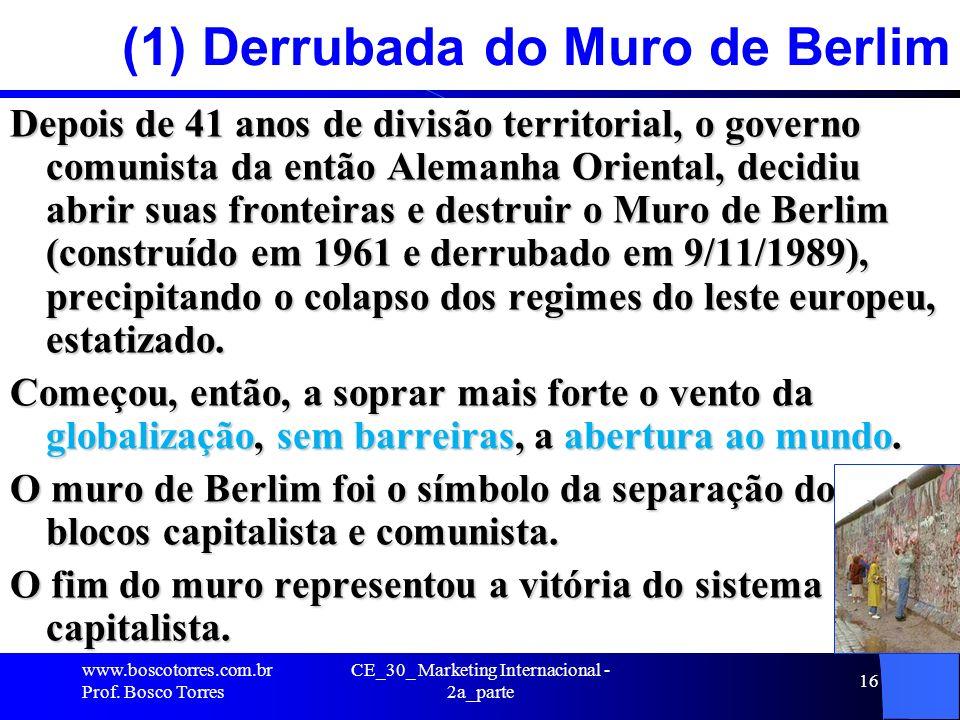 CE_30_ Marketing Internacional - 2a_parte 16 (1) Derrubada do Muro de Berlim Depois de 41 anos de divisão territorial, o governo comunista da então Al
