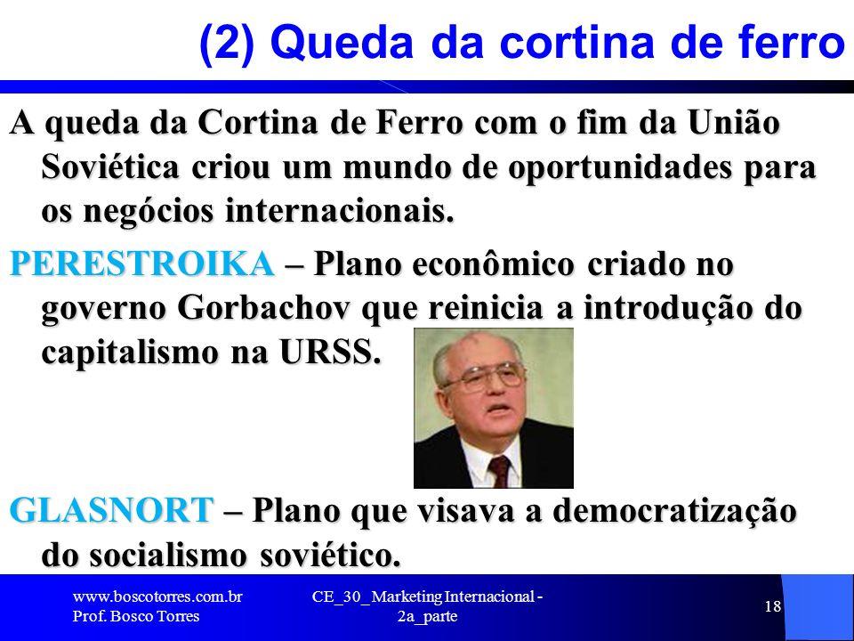 CE_30_ Marketing Internacional - 2a_parte 18 (2) Queda da cortina de ferro A queda da Cortina de Ferro com o fim da União Soviética criou um mundo de