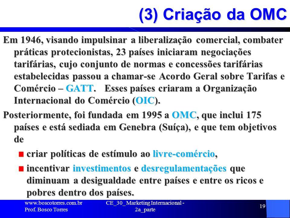 CE_30_ Marketing Internacional - 2a_parte 19 (3) Criação da OMC Em 1946, visando impulsinar a liberalização comercial, combater práticas protecionista