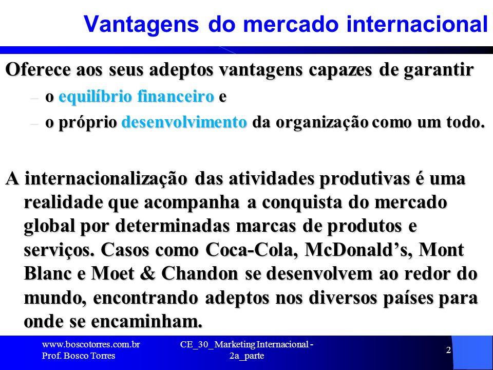 CE_30_ Marketing Internacional - 2a_parte 2 Vantagens do mercado internacional Oferece aos seus adeptos vantagens capazes de garantir – o equilíbrio f