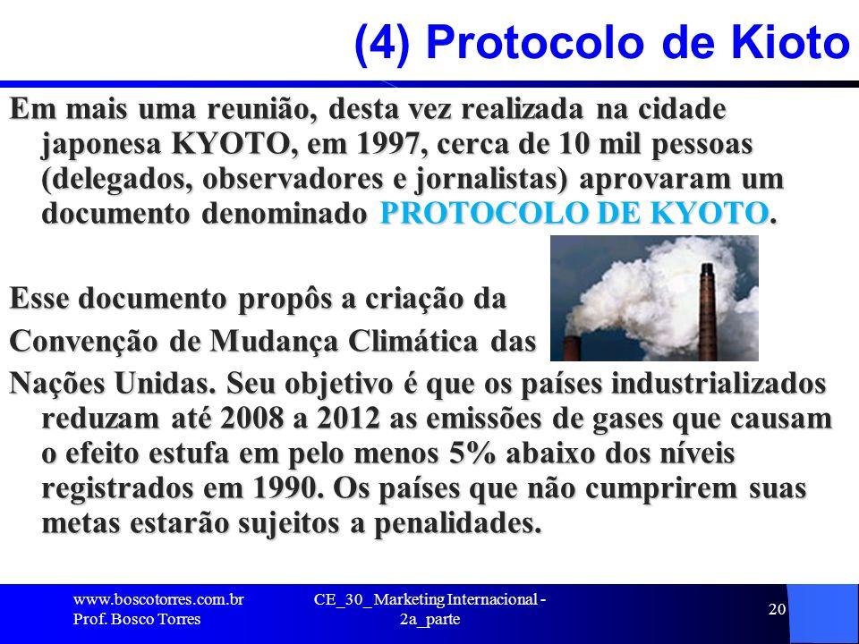 CE_30_ Marketing Internacional - 2a_parte 20 (4) Protocolo de Kioto Em mais uma reunião, desta vez realizada na cidade japonesa KYOTO, em 1997, cerca