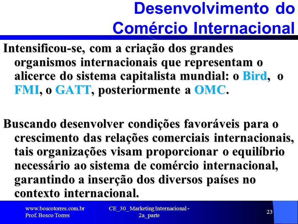 CE_30_ Marketing Internacional - 2a_parte 23 Desenvolvimento do Comércio Internacional Intensificou-se, com a criação dos grandes organismos internaci