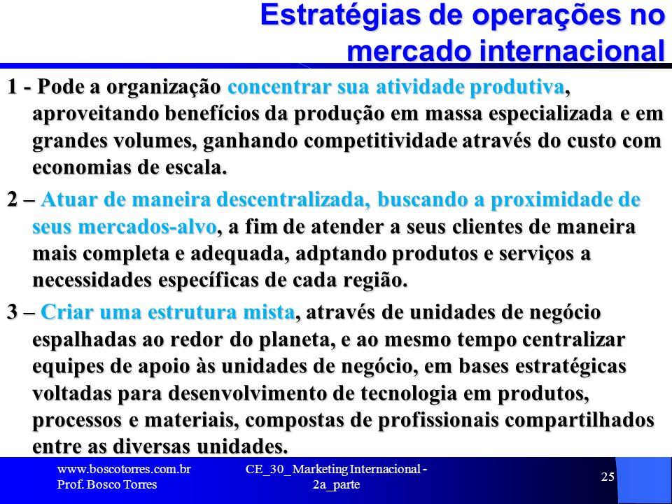 CE_30_ Marketing Internacional - 2a_parte 25 Estratégias de operações no mercado internacional 1 - Pode a organização concentrar sua atividade produti