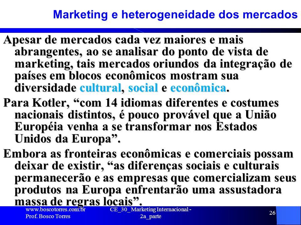 CE_30_ Marketing Internacional - 2a_parte 26 Marketing e heterogeneidade dos mercados Apesar de mercados cada vez maiores e mais abrangentes, ao se an