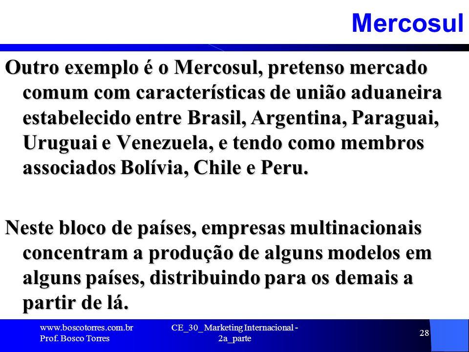 CE_30_ Marketing Internacional - 2a_parte 28Mercosul Outro exemplo é o Mercosul, pretenso mercado comum com características de união aduaneira estabel
