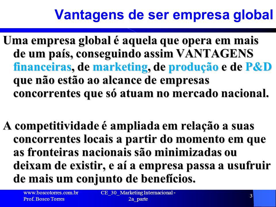 CE_30_ Marketing Internacional - 2a_parte 3 Vantagens de ser empresa global Uma empresa global é aquela que opera em mais de um país, conseguindo assi