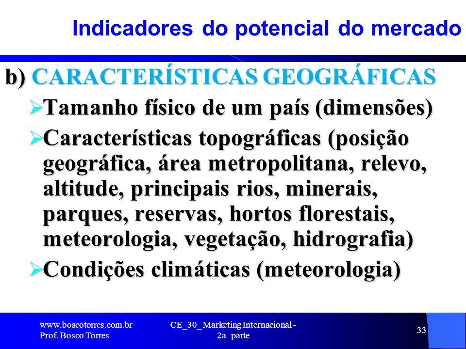 CE_30_ Marketing Internacional - 2a_parte 33 Indicadores do potencial do mercado b) CARACTERÍSTICAS GEOGRÁFICAS Tamanho físico de um país (dimensões)