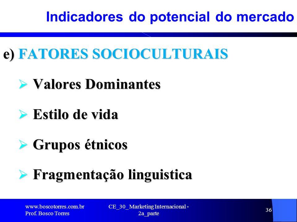CE_30_ Marketing Internacional - 2a_parte 36 Indicadores do potencial do mercado e) FATORES SOCIOCULTURAIS Valores Dominantes Valores Dominantes Estil