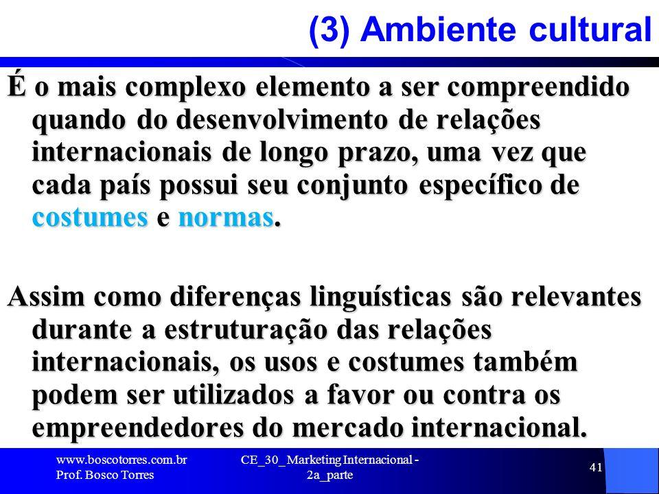 CE_30_ Marketing Internacional - 2a_parte 41 (3) Ambiente cultural É o mais complexo elemento a ser compreendido quando do desenvolvimento de relações