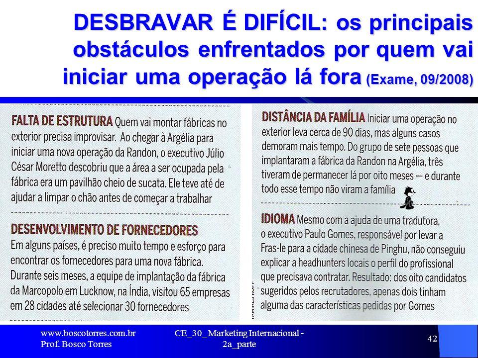 DESBRAVAR É DIFÍCIL: os principais obstáculos enfrentados por quem vai iniciar uma operação lá fora (Exame, 09/2008). www.boscotorres.com.br Prof. Bos