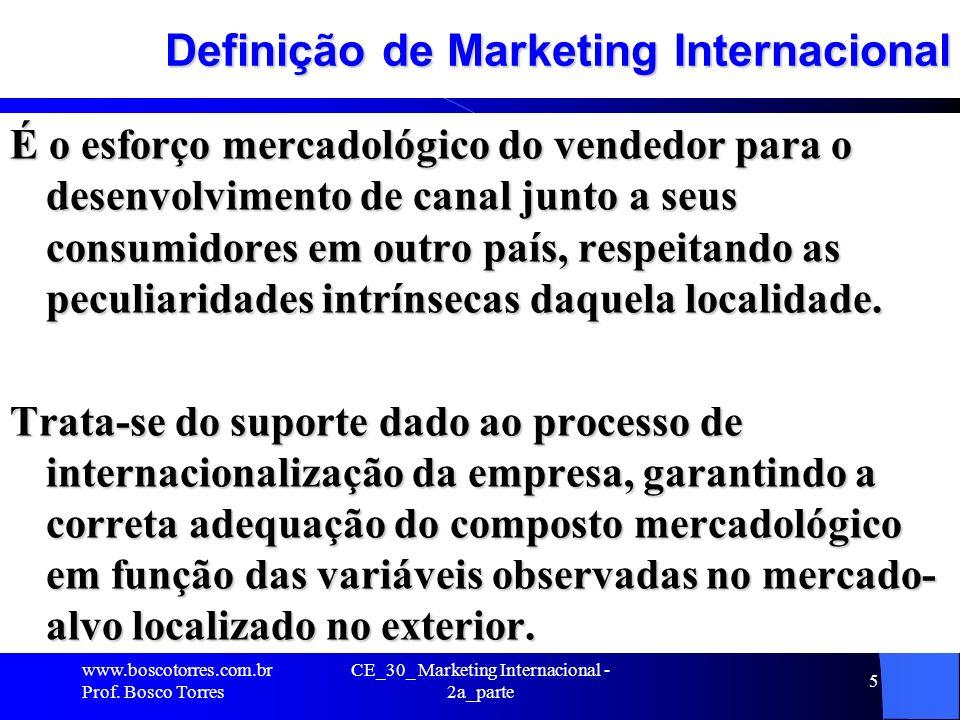 CE_30_ Marketing Internacional - 2a_parte 5 Definição de Marketing Internacional É o esforço mercadológico do vendedor para o desenvolvimento de canal